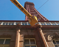 Cherry Picker used for work on the base of Blackpool Tower