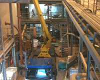 Cherry Picker used inside of a factory to access places normaly out of reach